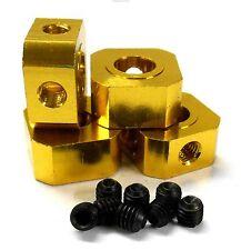 L11494y 1/5 scala 17mm x 9.5 mm Drive Quadrato WHEEL HUB IN LEGA DI ALLUMINIO GIALLO x4