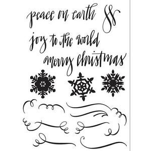 Sizzix Seasonal Calligraphy Clear Stamps Snowflakes Peace on Earth Christmas