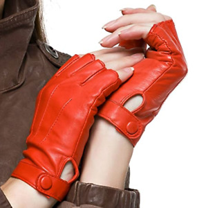 Pure Leather Half Finger Gloves | Driving Biking Cycling Performance Dancing