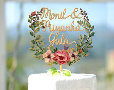 Personalized Monogram Wedding Cake Topper Hand Printed with Floral Wreath #154
