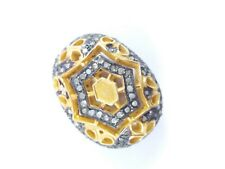 Antique Finish Beads Jewelry Making Beads 925 Sterling Silver Pave Diamond Oval