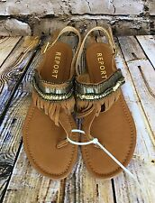 Women's NWOT Natural Brown Fringe Size 6 Report Sandals
