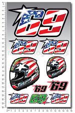 Nicky Hayden 69 motorcycle car decals 10 stickers set MotoGP honda Laminated