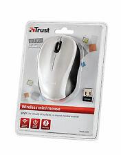 TRUST Vivy 800dpi Bianco Wireless Mini Mouse Ottico BlueSpot, ricevitore USB Micro