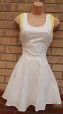 VERO MODA WHITE YELLOW CUT OUT SIDE SUPER FLIPPY SKATER A LINE PROM TEA DRESS M