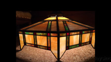 Antique Arts & Crafts Stained Glass Lamp Shade Light Fixture