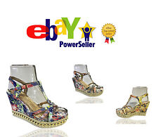 Womens Floral Espadrilles Platform Strappy High Wedge Studded Sandals Shoes Size
