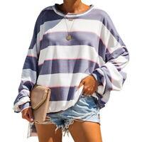 Mode Femme Autumn Col Rond Shirts Casual Rayures Hauts Blouse à Manches Longues
