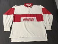 Vintage 1980s Coca Cola Red Color Block Collared Long Sleeve Shirt Size L