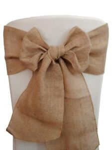 """50 Burlap Chair Sashes 6""""x108"""" Wedding Event Parties Shows 100% Natural Jute"""
