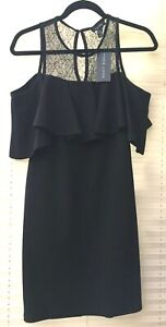 NEW LOOK LBD BLACK BARDOT DRESS WITH LACE PANEL SIZE 12 BNWT