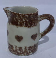 Friendship Pottery, Roseville, Ohio BROWN Sponge Ware Pottery Pitcher w/ Hearts