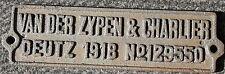 Pratiques plate usine Bouclier Wagon Bouclier van der zypen DEUTZ 1918 FER DECO