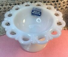 Vintage Anchor Hocking Milk White Glass Pedestal Bowl