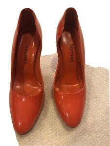 Rochas Orange Patent Leather Pump