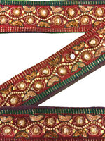 Vintage Silk Antique Sari Border Woven 1Yd Trim Embroidered Ribbon ST1178