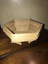 Vintage Tramp Primitive Art Popsicle Stick Handmade Folk Bowl Retro Basket Wood