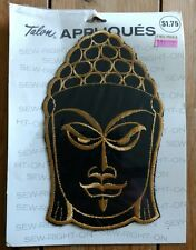 New 1971 VINTAGE EMBROIDERED PATCH APPLIQUE HIPPIE Buddha BLACK & GOLD A7041