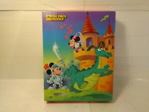 Golden 1984 Mickey Mouse Medieval Knight 100 Piece Jigsaw Puzzle #4649-40 gm1054