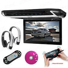 "10"" HD Car Roof Mounted USB DVD Player Flip Down Monitor HDMI Game IR Headphones"