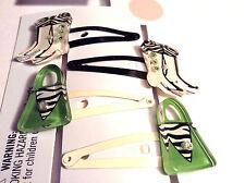 Gymboree MOD ZEBRA NWT 4 pc Barrette Boot Purse Snap Clip New Black Green Vintag