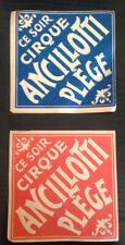Publicité cirque clowns  circo zirkus cirque Ancillotti Plege 1920