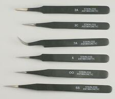 Quality set 6 tweezers black epoxy coated watchmakers jewellers 00 3C 2A 5 7 SS