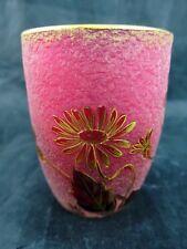 c1880 DAUM Nancy Cranberry TOOTHPICK HOLDER Gold Floral w/Acid Etched Finish