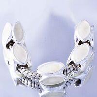 5Pcs Charms White GF Silver White Enamel european Beads Fit DIY Bracelet