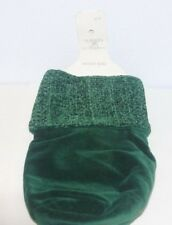 """Green cotton wine bag 10.5"""" cuff for gift entertaining St.Patricks day holiday"""