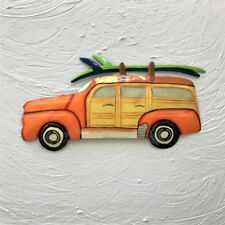 "Woody beach wagon w/surfboards orange 13"" metal tropical haitian wall art decor"