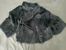 Nwot Ralph Lauren Collection Black shearling Lamb Leather Bolero Cape Jacket M