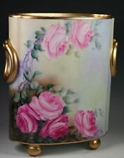 """HAND PAINTED 10.5"""" Roses Cache Pot Vase"""