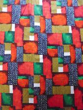 ancien tissu textile ameublement vintage 60 coton imprimé géométrique 65 x57 cm