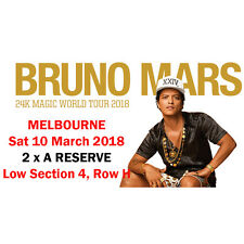 2 x Bruno Mars Melbourne A RESERVE TICKETS Sat 10 March 2018 Low Section 4 Row H