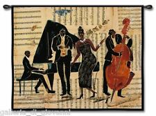 """Jazz Music Wall Tapestry  W/Rod  43""""x52""""  Bar Cello Piano Notes Neutral Colors"""