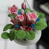 1/12 Dollhouse Miniature TOY Handcraft flower Purple rose  greenery in Vase Kit~