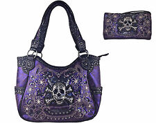 PURPLE SUGAR SKULL CONCEALED WEAPON CARRY HANDGUN PURSE + MESSENGER BAG WALLET