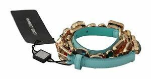 DOLCE & GABBANA Belt Blue Leather Multicolor Crystals Waist 70cm/28in/S $1000