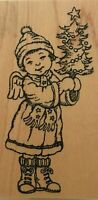 Hampton Art Stamps Girl with Christmas Tree Card Making Paper Craft Rubber Stamp