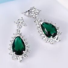 Attractive Green Emerald Gemstone Infinity White Gold Filled Earrings For Women