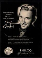 1946 PHILCO Phonograph Record Player - Singer BING CROSBY - Music -VINTAGE AD