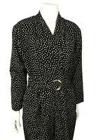 1980s Jumpsuit / Black and White Dot Belted Jumpsuit Long Sleeves / Small