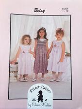 PITTER PATTER BETSY Cherie Maddox SMOCKING DRESS PATTERN Square Yoke Size 1 - 12
