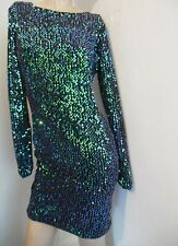 MOTEL STUNNING WINTER GREEN FESTIVE SEQUIN GABBY SHIFT GLAMOUR STYLE DRESS 12