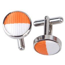 DQT Brass Fabric Inlay Cuff Links Striped Orange & White Mens Cufflinks