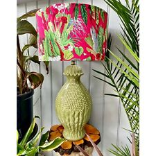 More details for vintage large casa pupo style coloured ceramic table lamp with velvet lampshade