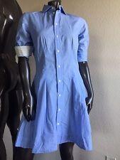 Ralph Lauren Button Down Fitted Flare Shirt Dress Light Blue Cotton Long Sleeve