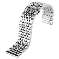 20/22mm Bracelet Solid Link Watch Band Strap Stainless Steel Silver Watch Band
