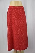 Leslie Fay Womens 16 Red White Polka Dot Long Full Length Skirt Modest Clothing